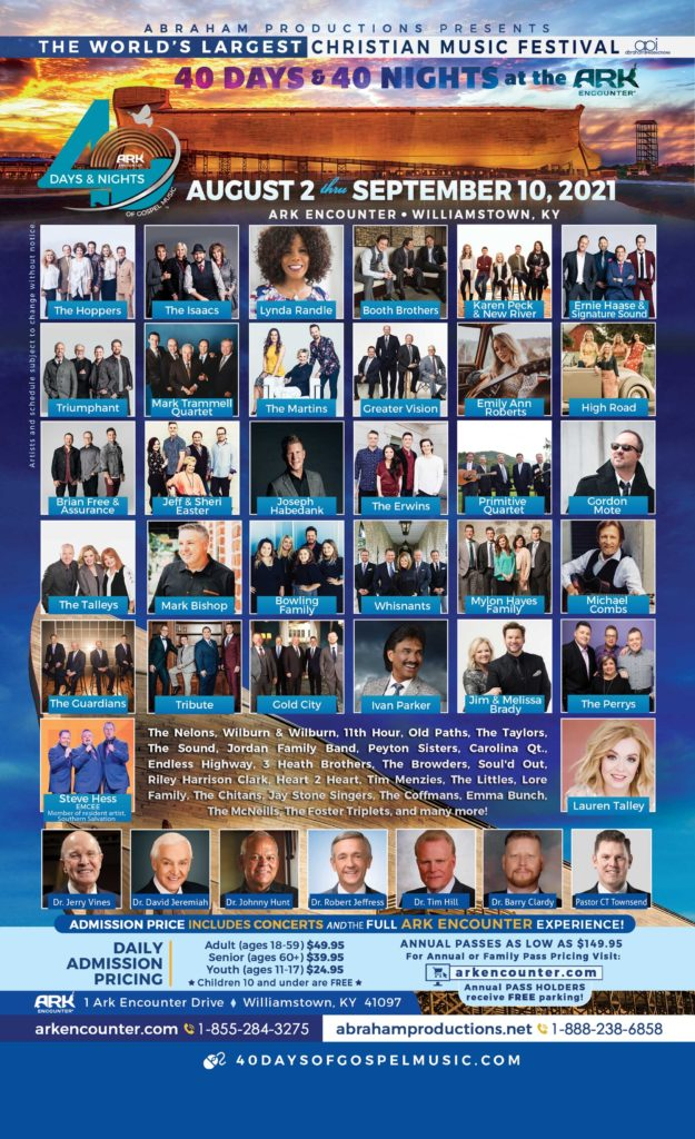 40 Days and 40 Nights of Gospel Music, World's Largest Christian Music Festival, The Ark Encounter, Southern Gospel Music, Singing News Magazine, SGN Scoops Magazine, CCM Magazine, ABC News, NBC News, Fox News Network